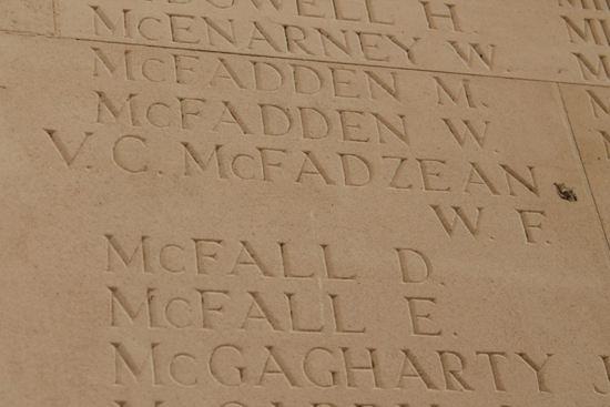 Billy McFadzean VC – Thiepval Memorial