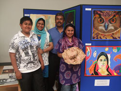 Art Student with her family at the Art Exhibition