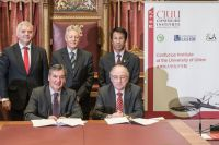 Confucius Institute School Hub Launch, Jonathan Bell MLA, First Minister Peter Robinson, Chinese Consul General for Scotland and Northern Ireland, Vice Chancellor Professor Richard Barnett, and Mr Hyndman Principal of Bangor Academy and Sixth Form College