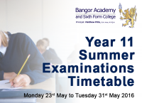 Year 11 Summer Examinations timetable