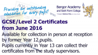 GCSE Level 2 Exam certificates for collection