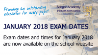 January 2018 Exam dates and times