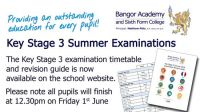 Key Stage 3 Summer Examinations